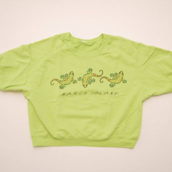 "Vintage 80's/90's Lime Green ""Marco Island"" Gecko Lizard Short Sleeve Oversized Crop Top T-Shirt Sweatshirt Crewneck Florida Vacation Shirt"