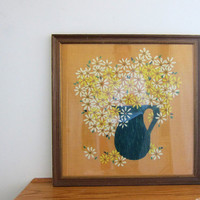 vintage colorful long stitch needlepoint Picture bouquet of Daisies - FRAMED