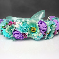 Mint purple flower CROWN / WREATH artificial flowers wedding green plum satin ribbon Flower girl Bride vibrant rose cherry flower