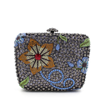Flower Minaudiere Metal Purses With Rhinestones Crystal Clutch Evening Bag