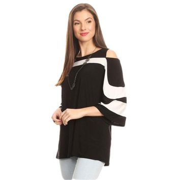 Octavia Black and White Cold Shoulder Top by Karen T. Design
