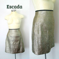 1990s Gold Lame Mini Skirt Vintage Designer Escada