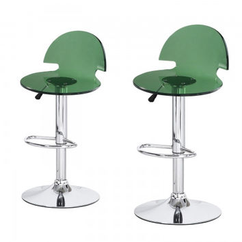 Joveco Clear Transparent Acrylic Hydraulic Lift Adjustable Counter Bar Stool Dining Chair - Set of 2 (Green)