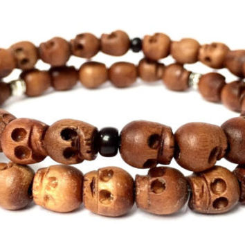 Mens Wood Skull Bracelet with Black or Silver Accents. Gift for Him