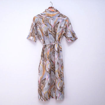 Pullover Shirt Dress Tie Belt by Lady Bayard Abstract Pastel Print Vintage size 12