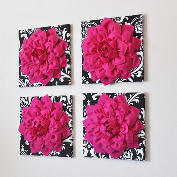 FOUR Hot Pink Dahlia Flowers on Black Damask Picture Canvas Home Decor