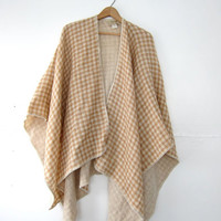 vintage camel brown wool winged cape cloak. Ireland shawl cape.