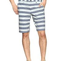 "Horizontal striped flat front shorts (11"")"