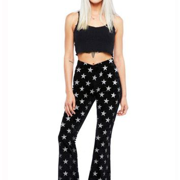 Starlight Black Velvet Flared Bell Bottom Pants