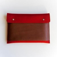13 Inch MacBook Air Sleeve Case with Pocket in  Red by ribandhull