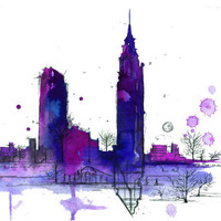 Print from original watercolor and pen doodle by Jessica Durrant, titled NYC in Transit no. 2