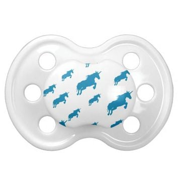 fantasy unicorns magical pattern white and blue pacifier