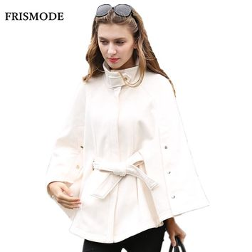 2cd7959c6b5 Women Winter Fashion Wool Cloak Jacket Plus Size Beige Long Slee