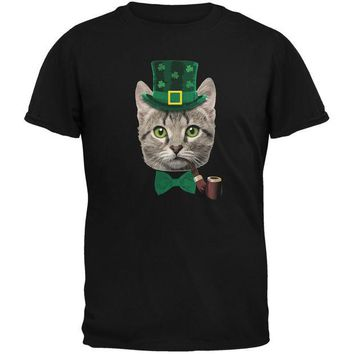LMFCY8 St. Patrick's Funny Cat Black Youth T-Shirt