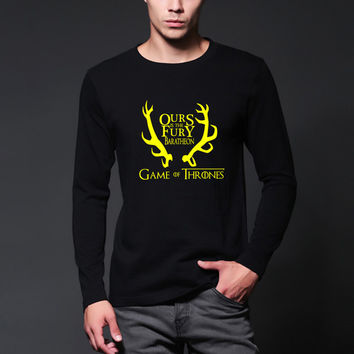 Autumn ours is the fury house baratheon Men T-shirt casual O-Neck Tops Tees Game of Thrones MEN long sleeve T shirt