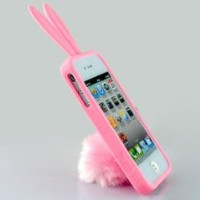 New Cute Rabito Rabbit Rubber Case Cover Stand with Tail Holder for AT&T Verizon Apple Iphone 4 4G 4S