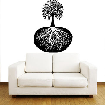 Tree with Roots Wall Decals - Wall Vinyl Decal - Interior Home Decor - Housewares Floral Tree Art Vinyl Sticker Decal V1025