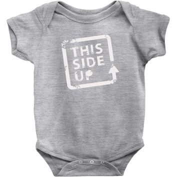 this side up funny drinking Baby Onesuit