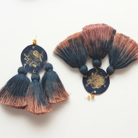 FESTIVE 2/ Dyed cotton tassel & leather earrings - Ready to Ship -OOAK