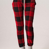 Cozy Cabin Buffalo Plaid Joggers - Red