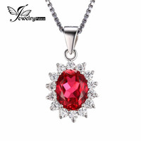 JewelryPalace Oval 2.5ct Red Ruby Pendant Genuine 925 Sterling Silver Princess Diana William Wedding Jewelry Without a Chain