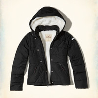 Girls Sherpa-Lined Puffer Jacket | Girls Jackets & Coats | HollisterCo.com