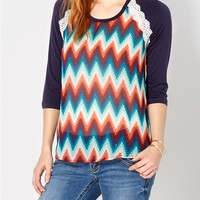 Southwest Chevron Raglan Top
