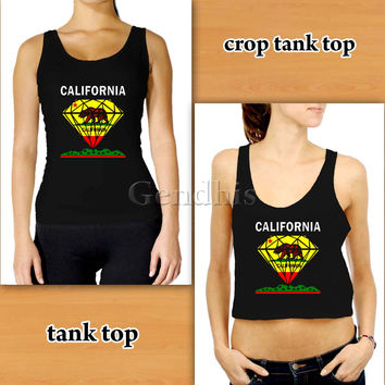 California Diamond 2 Custom Woman Crop Tank , Woman Tank Top , Man Tank Top
