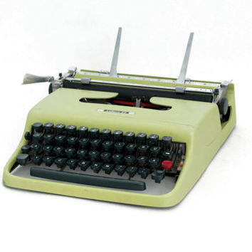 Vintage Typewriter, Mid Century typewriter, Portable Olivetti - Ivrea 50s, Green Travel Typewriter, Working Typewriter, Pea green typewriter