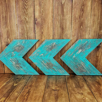 Turquoise Distressed Solid Wood Rustic Chevrons/Arrow Unique Wall Decor, Shabby Chic Wall Decor