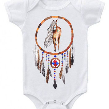 Native American painted horse dreamcatcher graphic boho baby bodysuit kids tee shirt Onesuit Bohemian Babe Western Infant Tribal Pony clothes