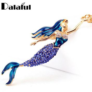 Dalaful Mermaid Sea-maid Key Chains Rings Holder Enamel Crystal Purse Bag Buckle Pendant For Car Keyrings KeyChains K270