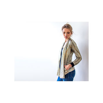 Gold Metallic Sparkly Party Jacket