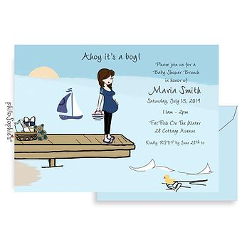 Personalized Baby Shower - Summer Sail Boats