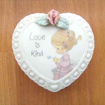 Precious Moments Heart Trinket Box Vintage 1993