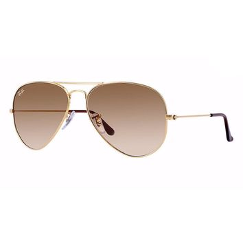 Ray Ban Aviator RB3025 001/51 Sunglasses Gold Frame / Gradient Brown Lens 58mm