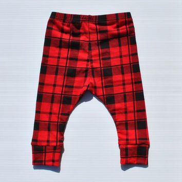 Red and Black Buffalo Plaid Baby Leggings