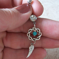 Dream Catcher Belly Ring with Turquoise Bead Accent  and Angel Wing