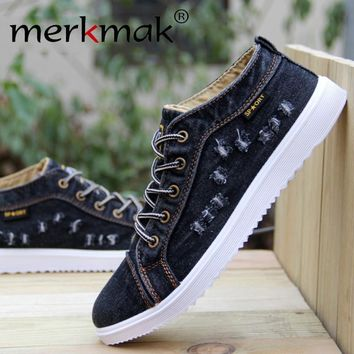 British Style Fashion Vintage Denim Jean Canvas Shoes Men