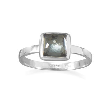 Small Freeform Faceted Quartz Over Hematite Square Stackable Ring in Sterling Silver