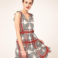 Paul & Joe Sister | Paul and Joe Sister Tile Print Dress with Frilled Sleeve Detail at ASOS