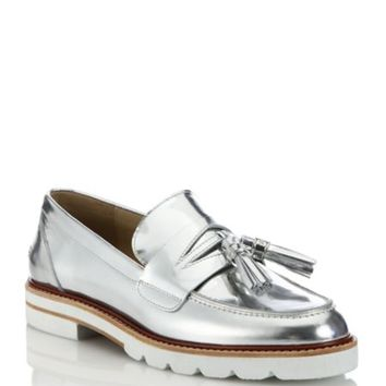 Stuart Weitzman - Atabow Metallic Leather Loafers