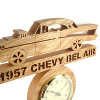 1957 Chevy Bel Air Wall Hanging Clock Handmade From Oak Wood By KevsKrafts