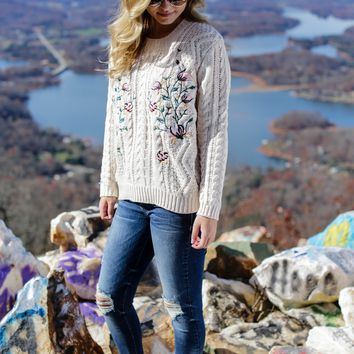 Floral Cable Knit Pullover, Ivory