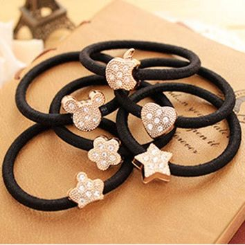 DCCKHY9 Multi- Shape Crystal Flower Crown Stars Shaped Black Elastic Hair Bands Rope Gum Rubber Hair Accessories for Girl Women