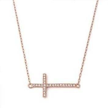 Silver Rose Gold-plated Cubic Zirconia Sideways Cross Necklace