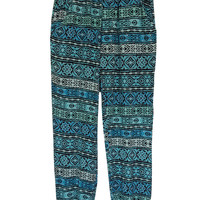 Pinc Girl's Mint & Teal Banded Harem Pants
