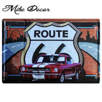 Route 66 Red Mustang Car Poster Metal Plaque  Art Wall decor Office Bar Vintage Metal signs