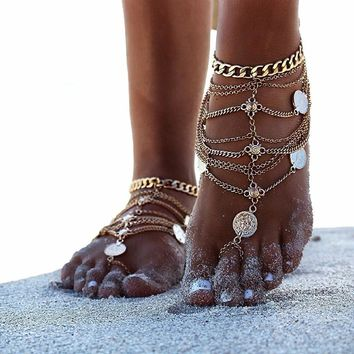 Boho Vintage Coin Blessing Anklet Jewelry