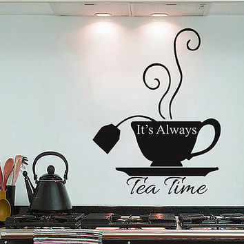It's Always Tea Time Sing Quote Alice In Wonderland Wall Decal Home Decor DS436
